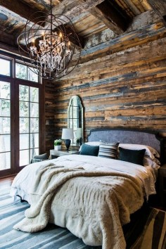 Log cabin bedroom interior