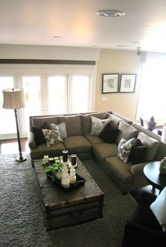 Love the couch, colors and COFFEE TABLE!!! this look would fit perfectly for updating my living room already this color