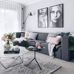 Loving the colour combinations that Tarina had used to style her new media room @ our pink button cushion looks pretty amazing on this couch too I think | ImmyandIndi