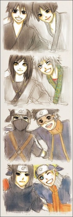 "Madara, Hashirama, Orochimaru, Jiraya, Kakashi, Obito, Sasuke and Naruto ""don't worry everyone has a crazy friend"""
