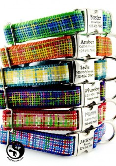 Madras Plaid Personalized Dog Collars Laser Engraved by PupPanache