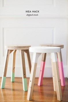 Make these trendy dipped stools using an Ikea stool and paint for a home decor item on a serious budget and perfect for a Spring refresh.