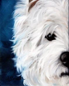 Mary Sparrow Smith from Hanging the Moon – dog art, pets, portrait, paintings, gift ideas, home decor, prints. Westie West Highland Terrier