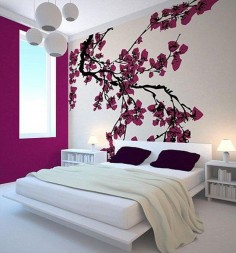 modern Japanese bedroom with cherry blossom wall decor - 45  Beautiful Wall Decals Ideas  ♥ ♥
