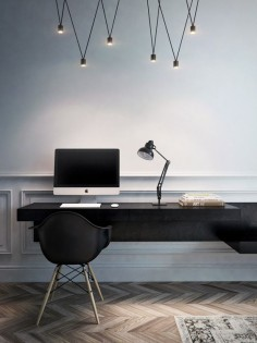 Modern office - simple design with black and wood.