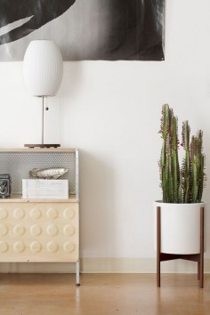 Modernica Case Study Ceramic Cylinder with Wood Stand and Case Study Storage Unit