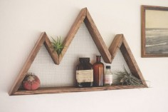 Mountain Wall Art, Shelf, Mountain Home Decor, wall hanging, wall shelf, reclaimed wood, statement piece, modern, industrial, rustic,