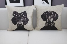 Mr/Mrs Dachshund Dog Home Cushion Cover