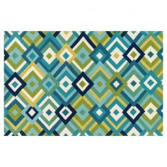 Multi-Color Blue Diamonds Indoor/Outdoor Rug- 5 x 7-in