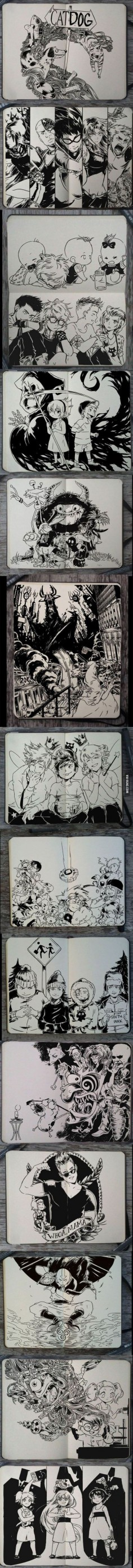 My childhood cartoons in real manga style. Except for South Park, that's NOT for kids