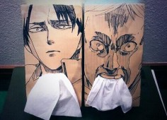 Napkin box with Levi and Erwin's faces (attack on titan) (via twitter: @Honki_Honki)
