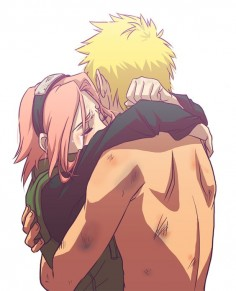 NaruSaku *Note I will never ship Naruto and Sakura because I cannot stand that thought* But I do see this as a Sakura moment caring that Naruto is alive. Like she always does. (BAKABAKA)