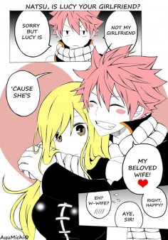 "~~Natsu and Lucy~~ by AyuMichi-me on Deviant Artist -Lucy ""Really Natsu"".-Natsu ""Yes Lucy Yes ;)""."