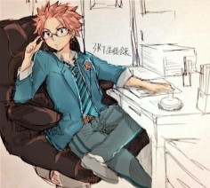Natsu looking smart… that's really weird, but awesome. Credit goes to the artist