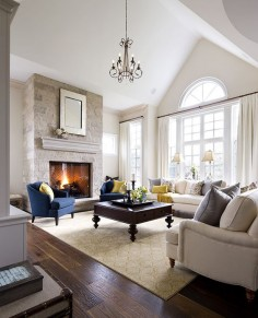 Neutral family room with a pop of color. | Jane Lockhart Interior Design