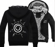 New Anime Naruto Clothing Hooded Sweatshirt Cosplay Hoodie Black