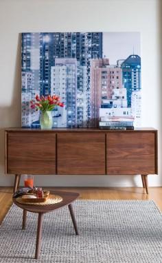 NEW! SENO walnut sideboard Artwork: Cityscape - Urban Landscape IV © Bence Bakonyi
