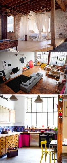 new york loft ....bliss Definitely want to live in a place like this when I move to NYC