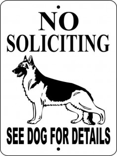 "NO SOLICITING German Shepherd Dog Sign 9""x12"" ""ALUMINUM"" on Etsy, $"