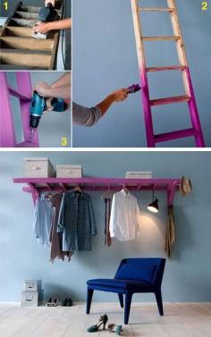 ¿No tienes armario? ¡No hay problema! Lo puedes hacer tu mismo con una escalera y un poco de pintura