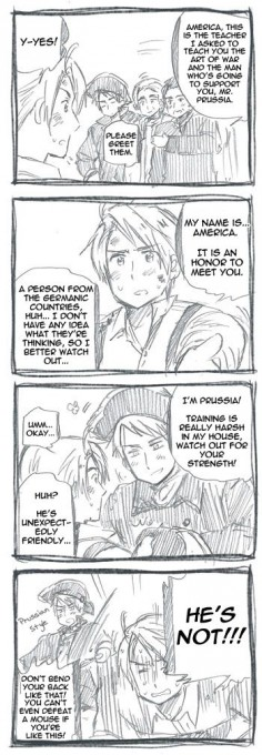 "Oh! Prussia/America comic I didn't realize existed! (""Hetarchive Scanlations"") Prussia teaching America how to fight for the Revolution"