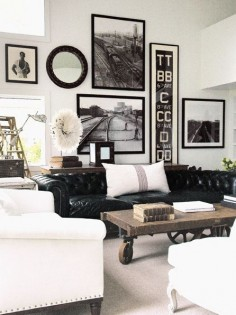 One of many living room favorites. Black, white color scheme with wood. Love love the couch. Chesterfield. .. fleaingfrance