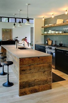 Outstanding kitchen island! Athena Calderone - Vacation Home Decorating Pictures, fine line of rustic and modern.
