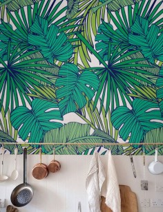 Palm Monstera leaf Wallpaper Removable Wallpaper by Jumanjii