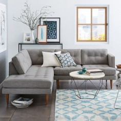 Peggy Mid-Century Terminal Chaise Sectional | West Elm - for basement? Check fire retardant info