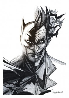 Personnal interpretation of Batman and the Joker sketch and photoshop - by @Lucky Star