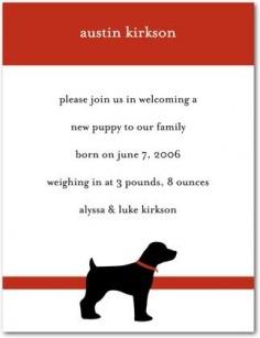 Pet Birth Announcements Austin Dog Announcements: Black - Front : Cherry Red