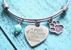 Pet loss bracelet - handmade personalized bangle bracelet by kriya design  a piece of my heart is in heaven make a meaningful gift for pet mom  ~