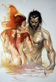 Phoenix and Wolverine by Gabriele Dell'Otto///one of my favourites