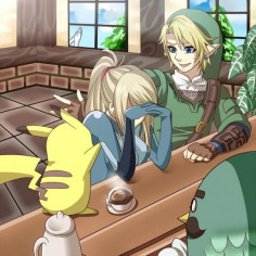 Pikachu and Link cheer up Samus in Animal Crossing