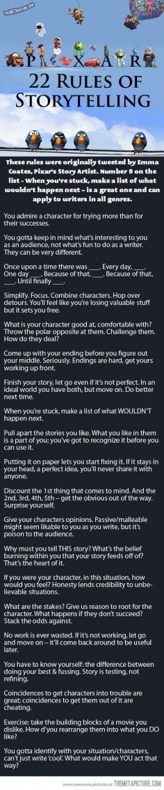 Pixar's 22 Rules of Storytelling [Infographic]