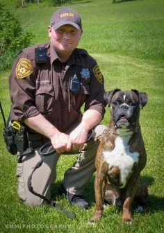 Police  Deputy Brandon Stoughtenger of Onalaska, WI, and his German boxer, Sabiye, have been training together since 2011. Sabiye recently became the only German boxer in the world to earn an elite IPO3 ranking.
