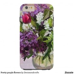Pretty purple flowers tough iPhone 6 plus case