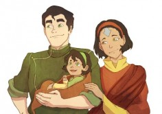 Proud papa Bolin - Headcanon: their first kid is an earthbending girl. AND THIS IS THE FIRST TIME I'VE SEEN OPAL DRAWN WITH ARROWS AND THIS FAMILY IS BEAUTIFUL THANK YOU.