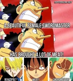 "Puhahaha!! Usopp's ""How to get Sanji, Luffy and Zoro out of a hypnotic slump"". I was beside myself with laughter! #OnePiece is so silly and awesome!"