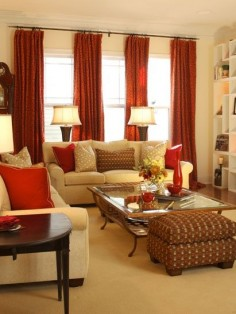 Red and Gold Living Room - Using Gold in Interior Design