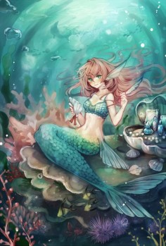 Red haired mermaid anime.
