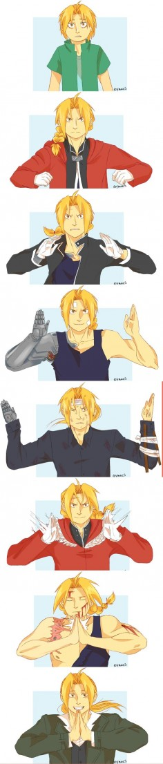 "Roymaes:  ""The boy who can perform alchemy without a transmutation circle… Edward Elric… the Fullmetal Alchemist!"""