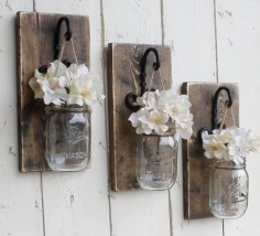 Rustic  Wood Wall  Individual Hanging Mason  Candle  to Order