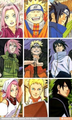 Sakura, Naruto, and Sasuke from beginning to end