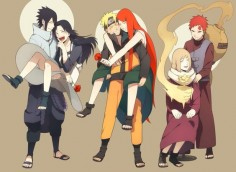 Sasuke, Naruto, Gaara with their mothers~ this really makes my heart hurt. It's too sweet!