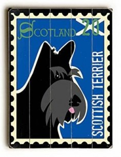 Scottish Terrier Postage Stamp Wood Sign