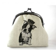Screen Printed Frame Purse Boston Terrier by ilovetreasures, $