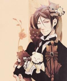 Sebastian with cats