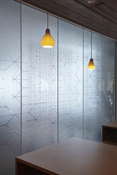 Semi-translucent glass by light geometric printed motifs - ASOS Headquarters by MoreySmith
