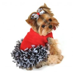 Show the wild side in your doggy girl with the pretty zebra Maddie Dog Dress. An adorable red dress with chiffon zebra print ruffles. The perfect dress for any occasion.